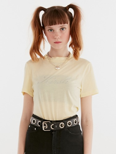 SEETHROUGH HALF NECK TEE IH [LEMON]