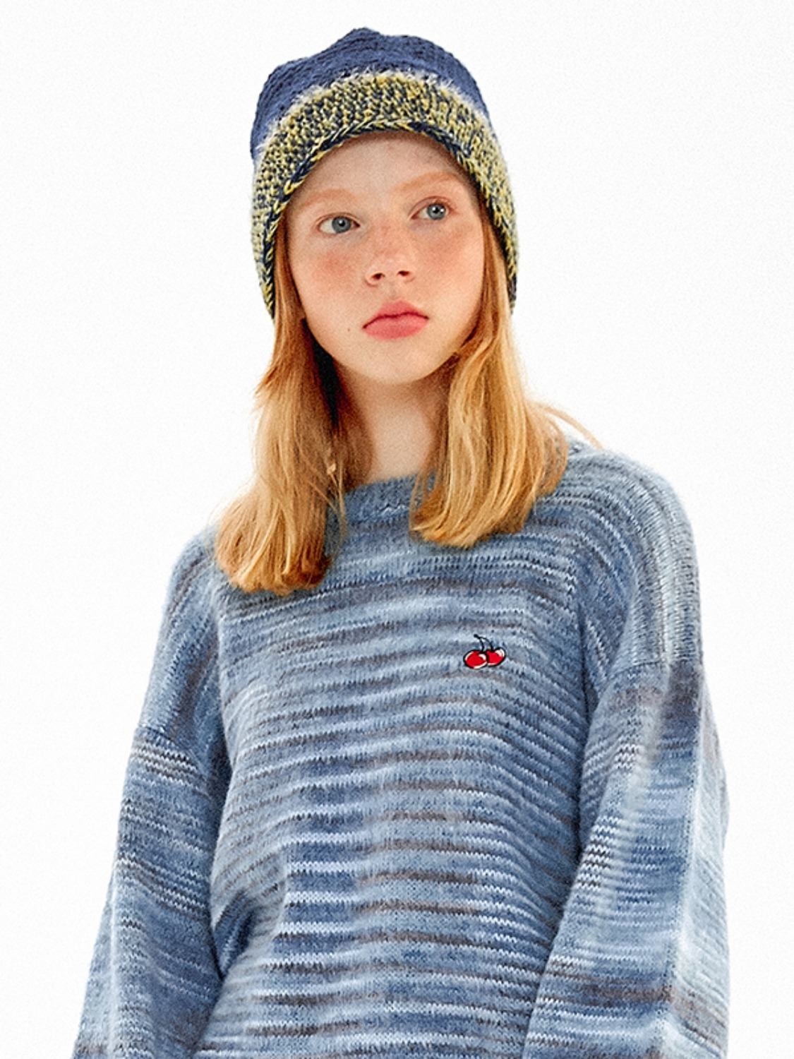 SMALL CHERRY DYEING KNIT JA [BLUE]