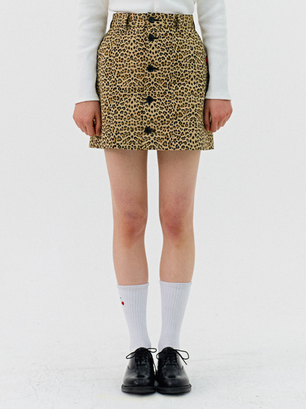 BUTTON SKIRT HS [LEOPARD]