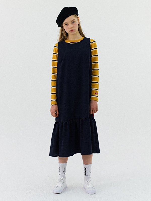 RUFFLE DRESS GS [NAVY]