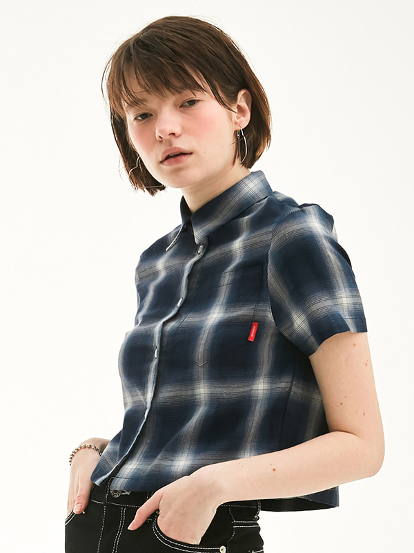 CROPPED CHECK SHIRT HS [NAVY]