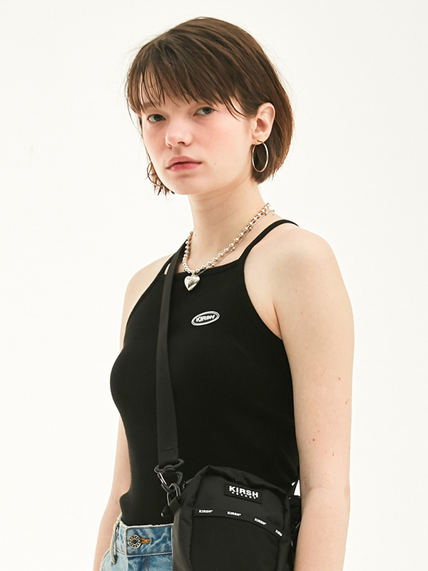 CIRCLE LOGO HALTER NECK HS [BLACK]