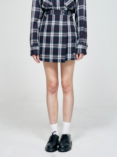 WRAP CHECK SKIRT  HA [NAVY]