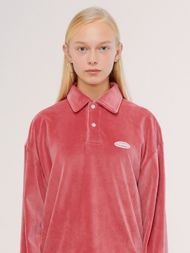 VELOUR COLLAR T-SHIRT IS [PINK]