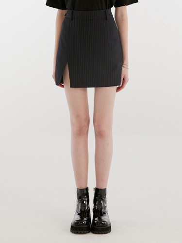 SLIT POINT SKIRT IH [NAVY]