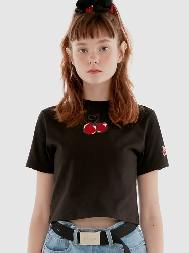 [6월 20일 예약발송]HEART CHERRY CROPPED T-SHIRT IH [BLACK]
