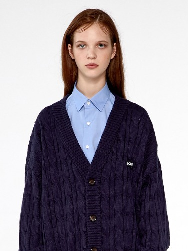 OVERFIT TWISTED KNIT CARDIGAN IA [NAVY]