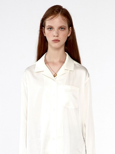 SILKY OPEN COLLAR SHIRTS IA [IVORY]