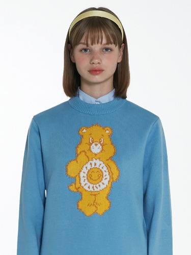CARE BEAR SUN-BELLY KNIT TOP [LIGHT BLUE]
