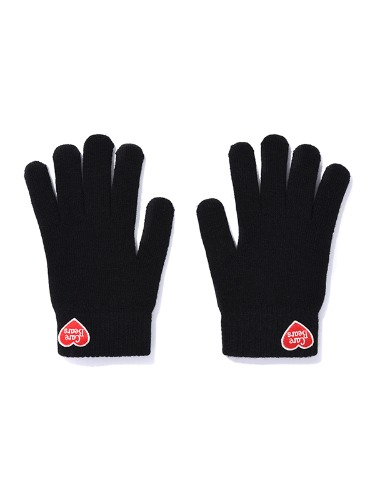 CARE BEAR HEART-WAPPEN KNIT GLOVES [BLACK]