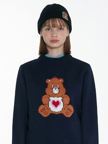 CARE BEAR HEART-BELLY KNIT TOP [NAVY]