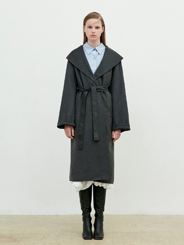 Hand Made Over Collar Robe Coat [Charcoal Gray]