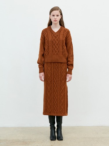 Knit Twisted Skirt [Brown]