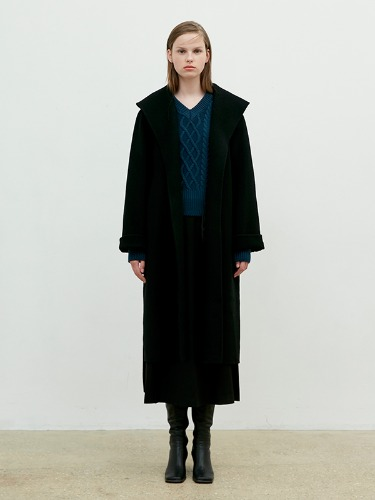 Hand Made Over Collar Robe Coat [Black]