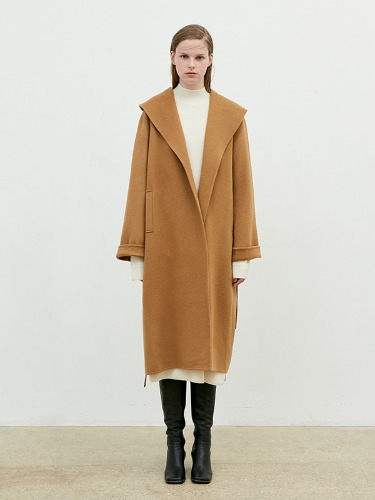 Hand Made Over Collar Robe Coat [Dark Beige]