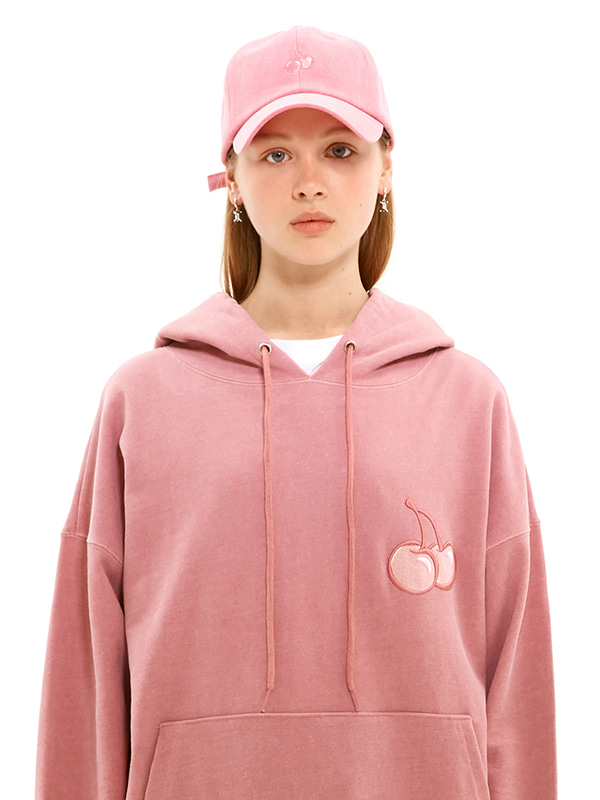 MIDDLE CHERRY PIGMENT WASHING HOODIE JS [PINK]