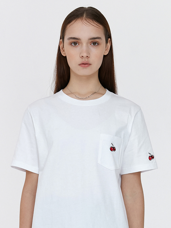 POCKET CHERRY T-SHIRT JH [WHITE]