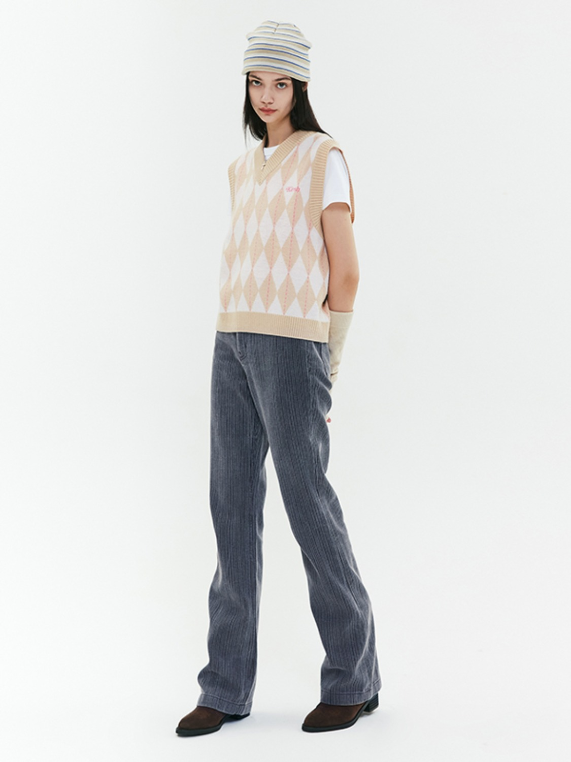 STRIPE DENIM BOOTCUT PANTS JA [BLUE]