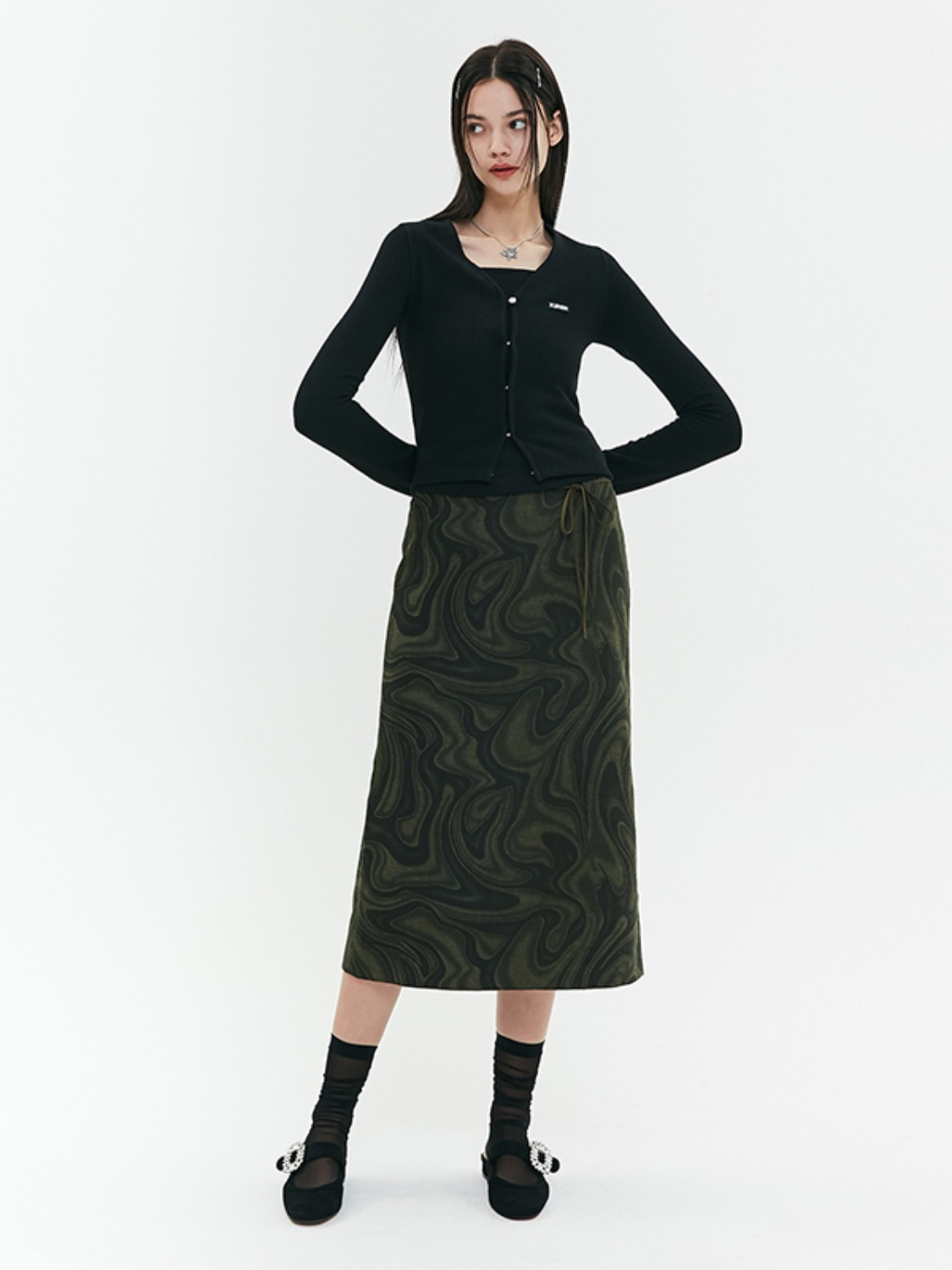MARBLE PATTERN LONG SKIRT JA [KHAKI]