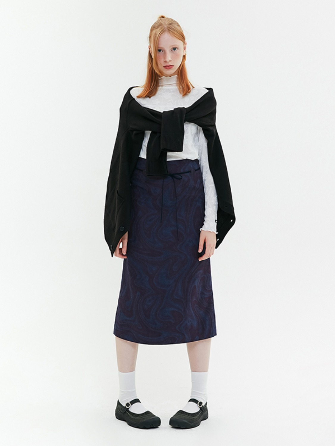 MARBLE PATTERN LONG SKIRT JA [PURPLE]
