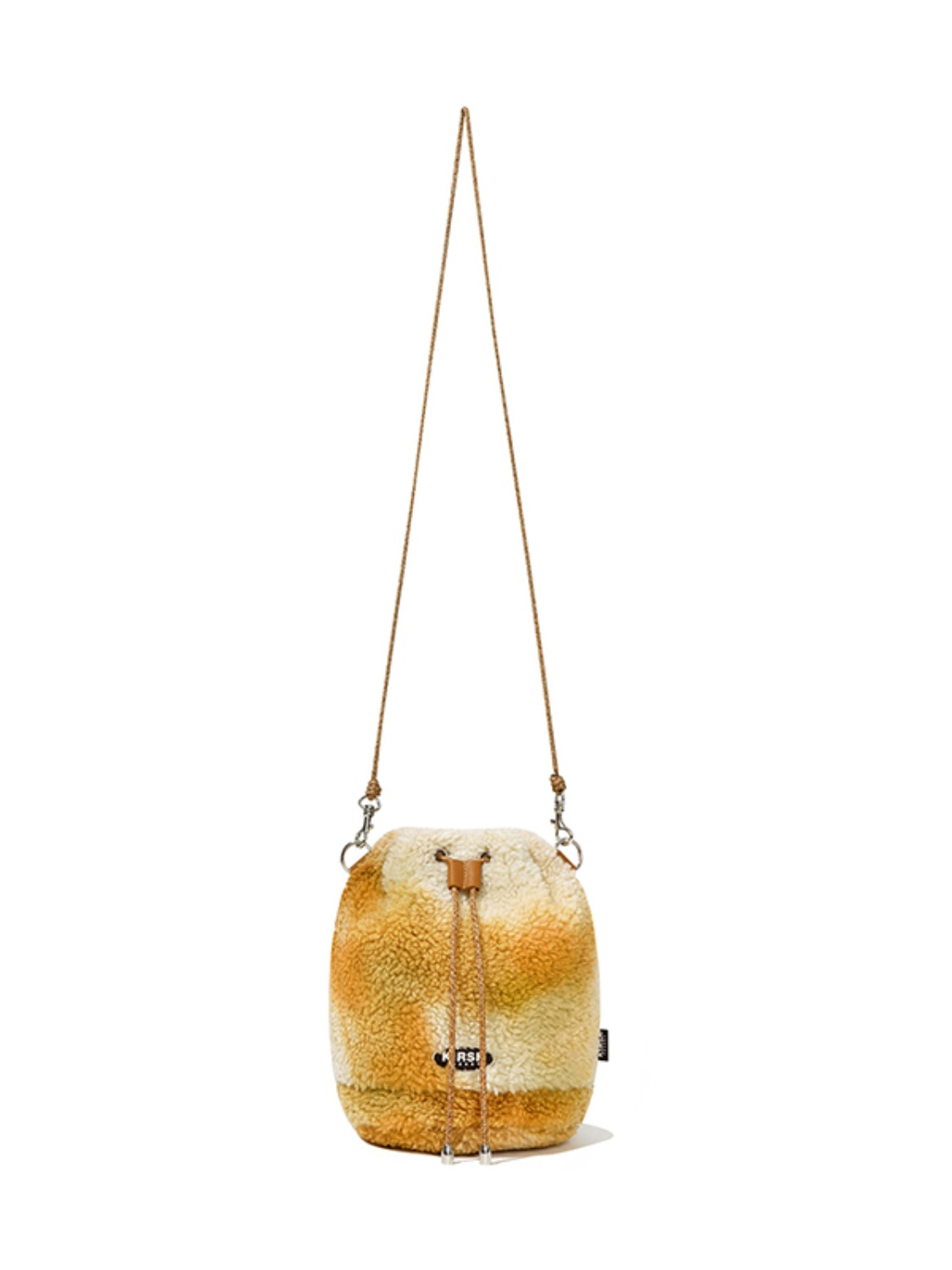 FLEECE  DRAWSTRING CROSS BAG JA [LIGHT BEIGE]