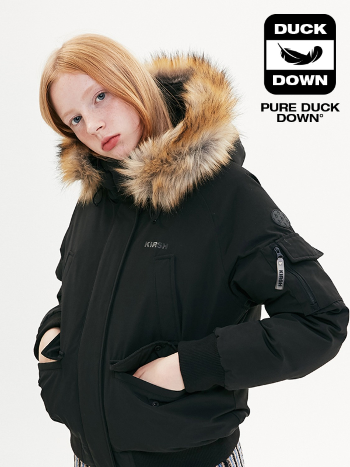 FUR HOOD DUCK DOWN JUMPER JA [BLACK]
