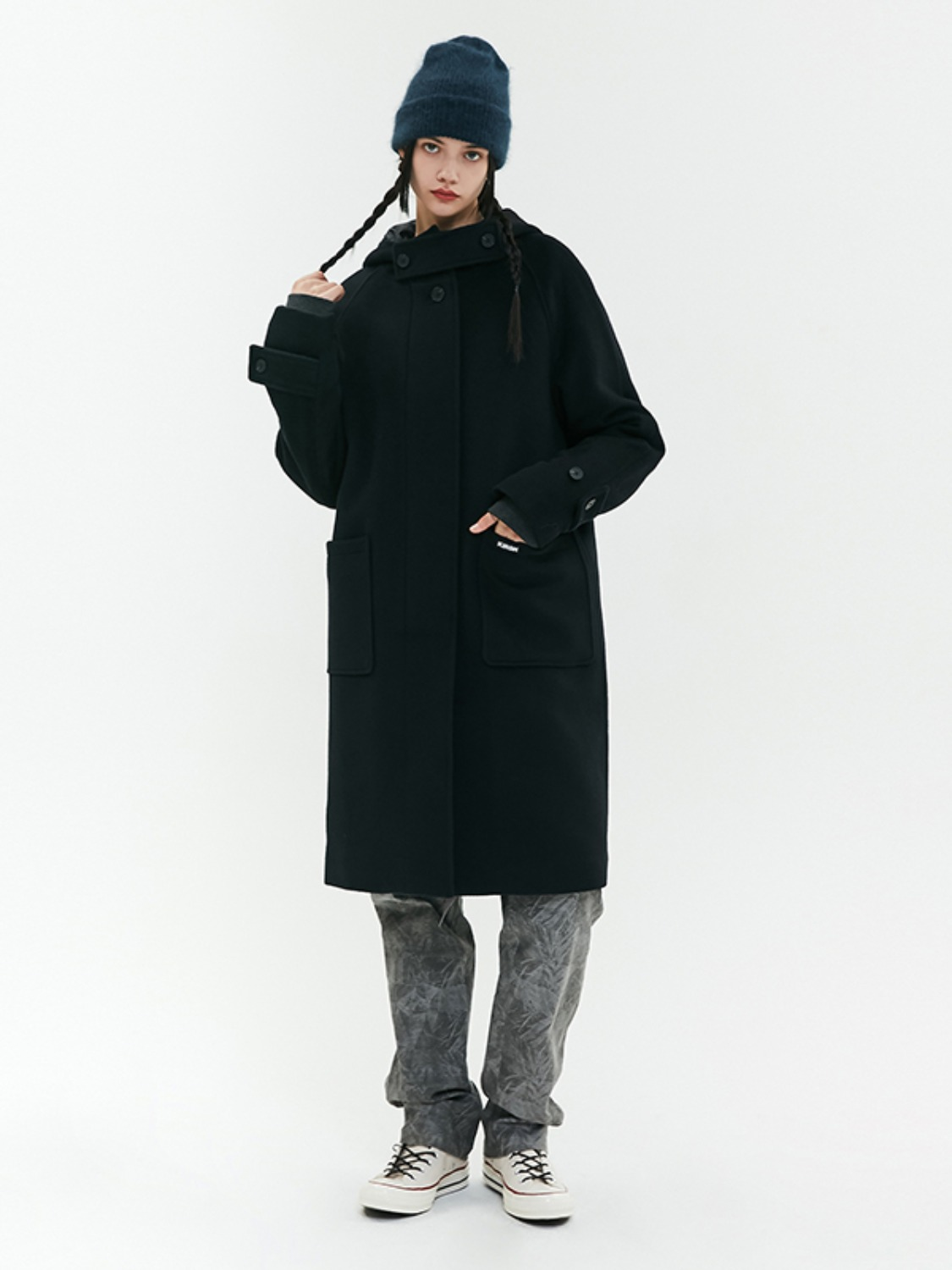 HOOD WOOL LONG COAT JA [BLACK]