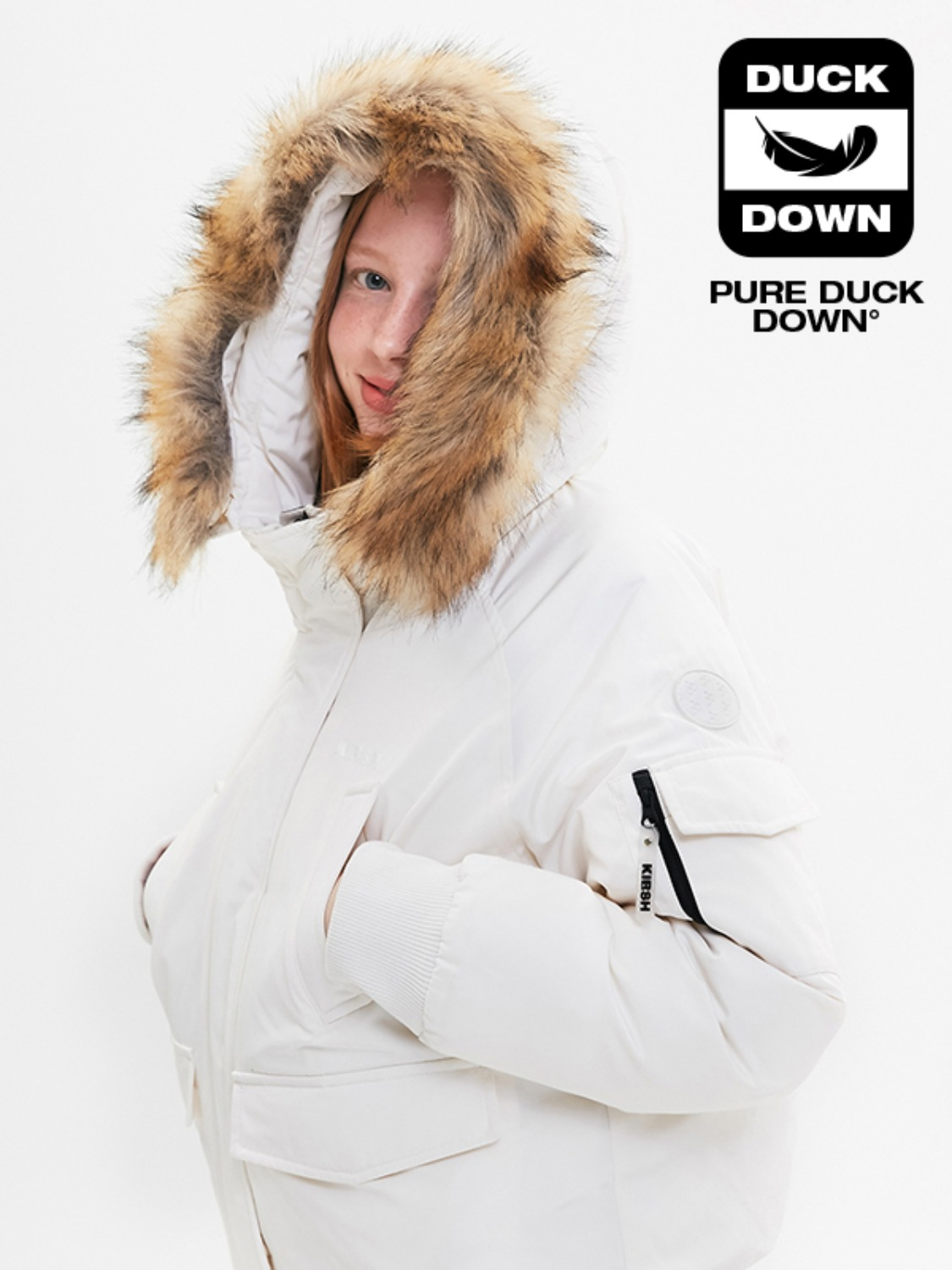 FUR HOOD DUCK DOWN JUMPER JA [IVORY]