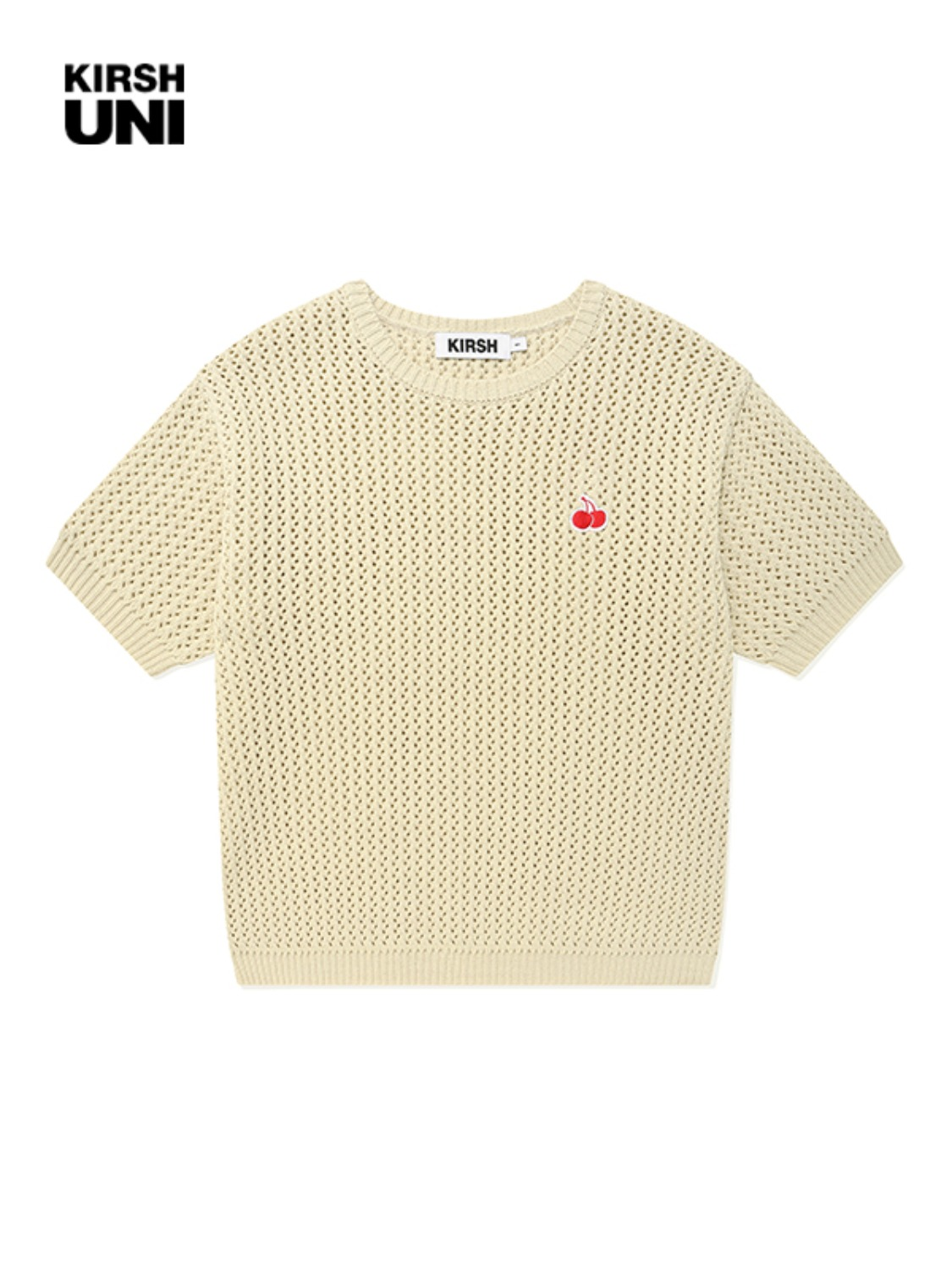 UNI SMALL CHERRY SHORT SLEEVED KNIT KS [BEIGE]