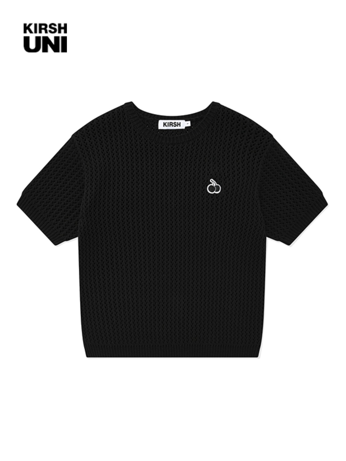 UNI SMALL CHERRY SHORT SLEEVED KNIT KS [BLACK]