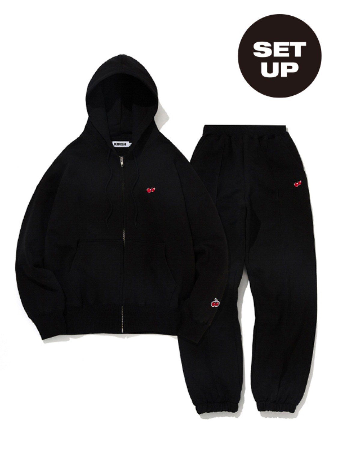 SMALL CHERRY HOODIE ZIPUP + CHERRY LINE JOGGER PANTS [BLACK+BLACK]
