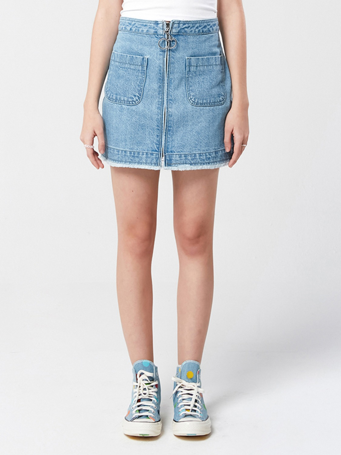 CHERRY ZIPPER DENIM SKIRT KS [BLUE]