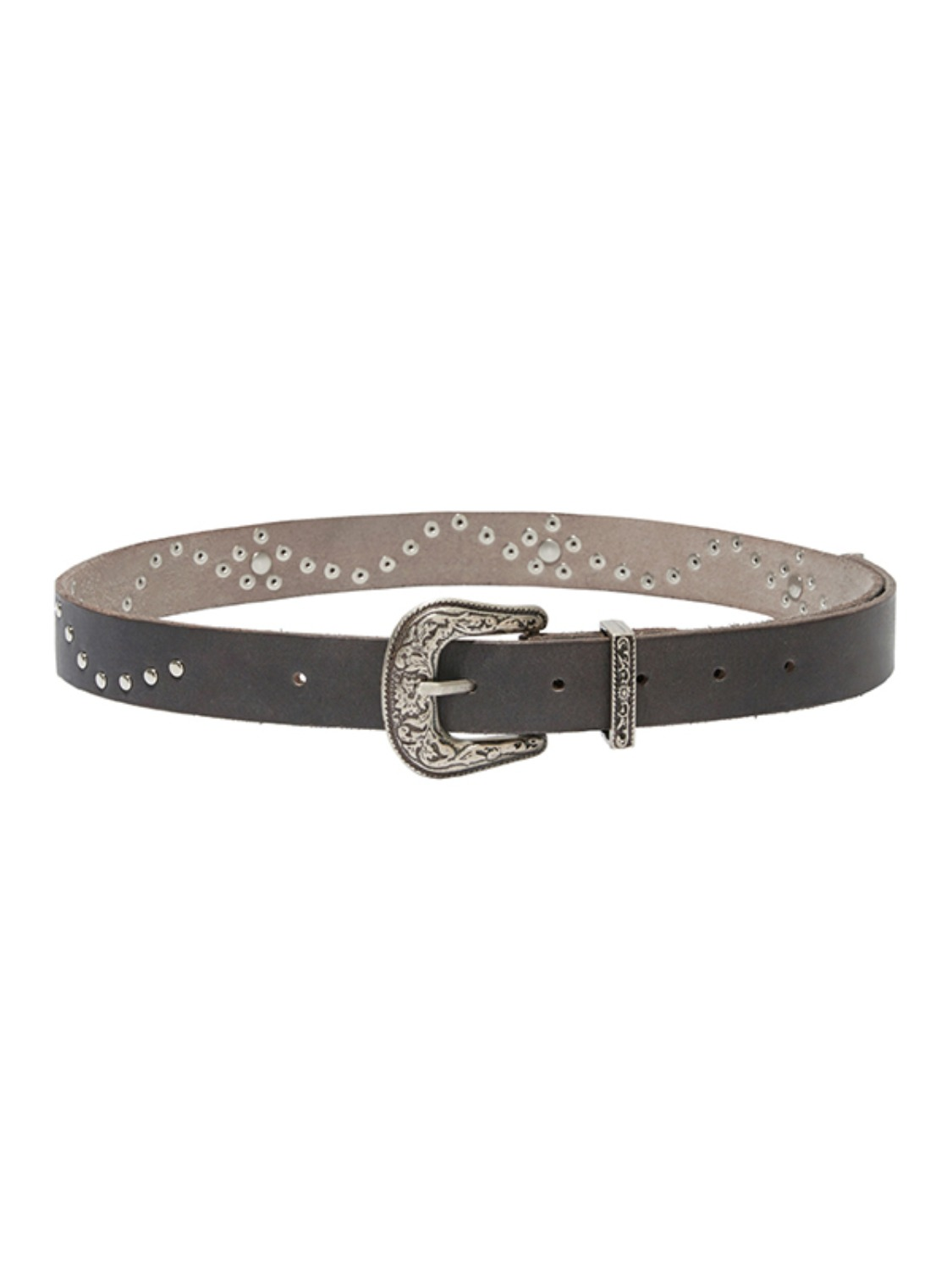 VINTAGE STUD LEATHER BELT KS [CHARCOAL]